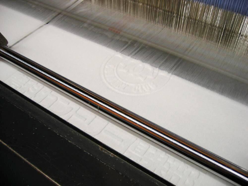 上げ落ちジャガード織ホテルタイプタオル製作風景